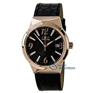 Invicta 15413 Women's Angel Black Dial Rose Gold Steel Black Leather Strap Watch