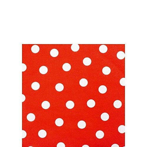 "Amscan Decorative Polka Dot Party Beverage Paper Napkins (16 Pack), 5 x 5"", Red"