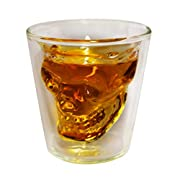 DownIT Skull Shot Glass, Thick Base, 1.5 Ounce, Double Wall, Clear Glass