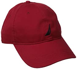 Nautica Men's Twill 6-Panel Cap, Deck Red, One Size