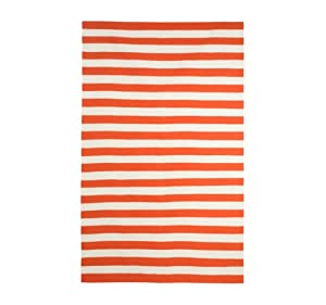 DwellStudio Draper Stripe Persimmon and Cream Rug, 5 by 8-Feet