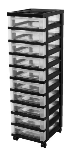 IRIS 10-Drawer Storage Rolling Cart with Organizer Top, Black