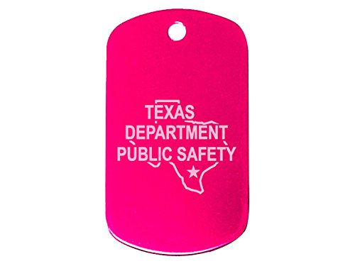 "Police Texas Tx Dps Pink Dog Tag 24"" Chain And Silencer Custom Engraved By Ndz Performance"