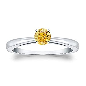 1/3 cttw Round-cut Yellow Diamond Solitaire Ring in 18K White Gold, Size 4