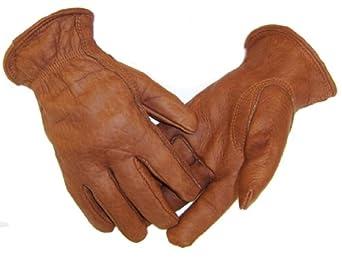 Men/'s Black//Brown Deerskin Indy 500 Driving Gloves Large