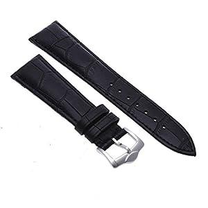 Pulsera Correa de Cuero Color Negro Repuesto para Reloj Moda 22mm marca bsupermart