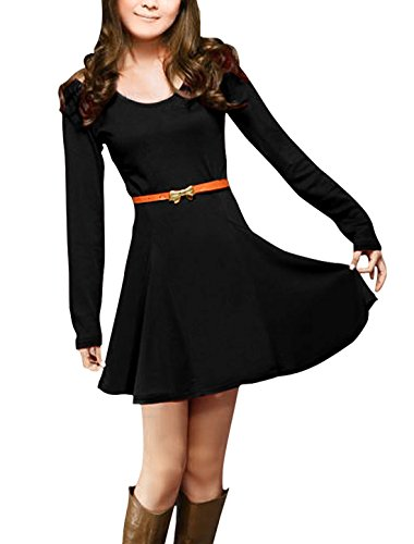 Allegra K Ladies Cut Out Shoulder Long Sleeve Belted Skater Mini Dress,Small,Black