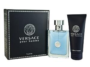 Versace Pour Homme Men Gift Set (Eau De Toilette Spray, Hair and Body Shampoo)