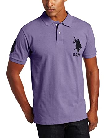 U.S. Polo Assn. Men's Solid Short Sleeve Pique Polo, Tie Purple Heather, Small