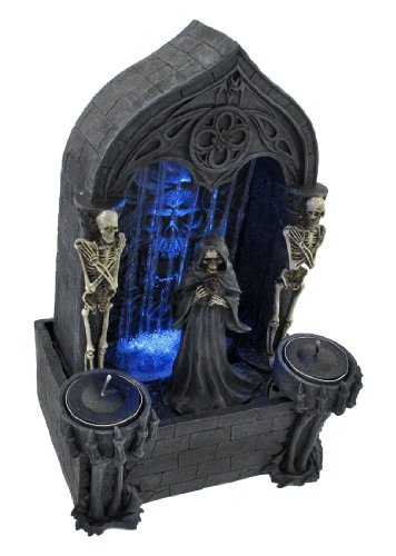 Grim Reaper Tabletop Skeleton Altar Fountain of Death Blue LED Light