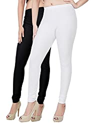 Fashion And Freedom Women's Pack Of 2 White And Black Satin Leggings