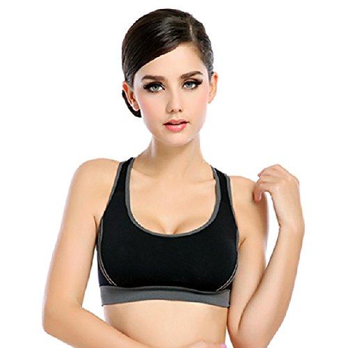 ISASSY Women's Sport Yoga Bra Running Jogging Fitness Exercise Pad Racer Tank Crop Top Aerobics Dance Vest, Black, M