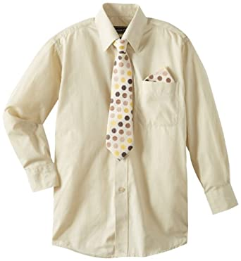 American Exchange Big Boys' Dress Shirt with Tie and Pocket Square, Beige, 8