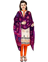 VASTRAA FUSION THREAD EMBROIDERED AARI WORK ETHNIC COTTON DUPATTA-PURPLE 1