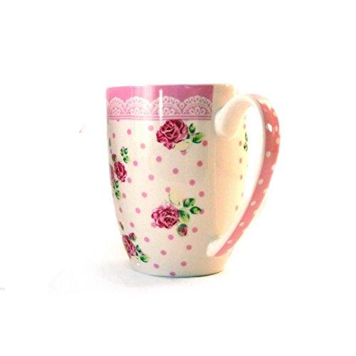 Tasse, Becher für Kaffee oder Tee, rosa Punkte mit Rosen, 250ml