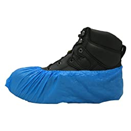 PE Disposable Plastic Shoe Covers BLUE 1,000 Ct. Water Resistant