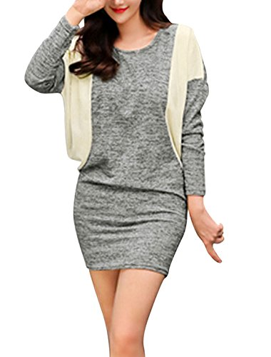 Lady Color Block Batwing Sleeves Round Neck Dress Light Gray M