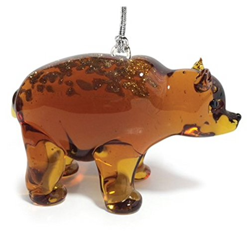 Glassdelights Grizzly Bear Glass Christmas Tree Ornament Animal Decoration New