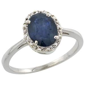 Revoni - Bague Femme - Or blanc 375/1000 (9 carats) - Diamants et Saphir bleu oval 1,2 ct - Taille 54