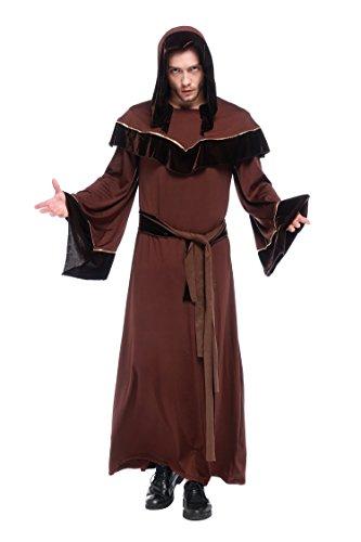 [NonEcho Men Classic Dark Sorcerer Robe Costume Large] (Wizards Snake Staff)