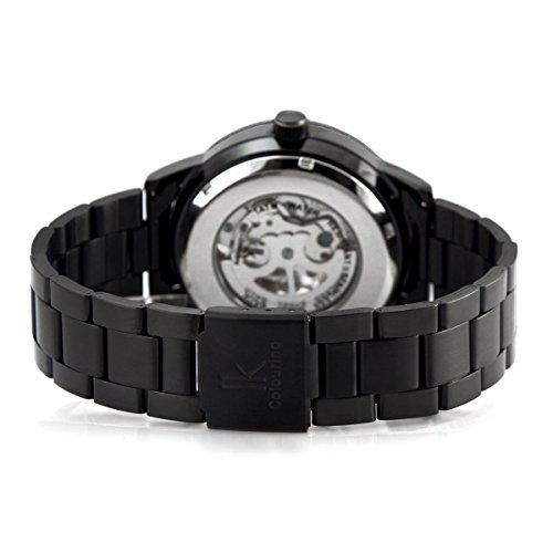 Alienwork IK mechanische Automatik Armbanduhr Skelett Automatikuhr Uhr schwarz Edelstahl 98226G-A 6