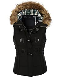 makeitmint Women's Plaid Hooded Padded Vest w/ Detachable Faux Fur Trim