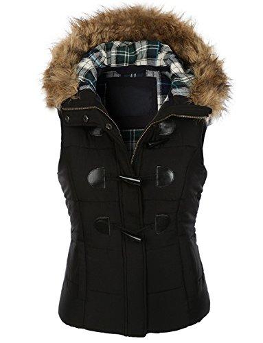 makeitmint Women's Plaid Hooded Padded Vest w/ Detachable Faux Fur Trim Large YJV0013_Black (Fur Trim Hood Vest compare prices)