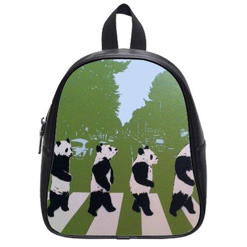 Generic Custom Pandas Walking In Line Printed School Bag Backpack Fit Short Trip Pu Leather Small front-967766