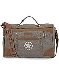 The House Of Tara Distress Finish Studded Duffle Bag (Stone Grey)