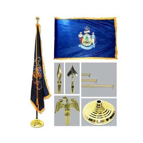 Maine 4Ft X 6Ft Flag Telescoping Flagpole Base And Tassel