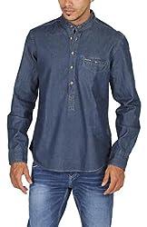 US Polo Assn. Men's Regular Fit Denim Shirt (USSH3439_Blue_XL)