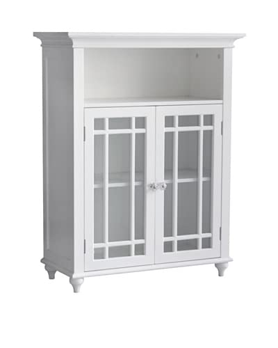 Elegant Home Fashions Neal Double Door Floor Cabinet, White As You See