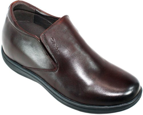 Calto - G0706 - 3.2 Inches Taller - Size 10 D Us - Height Increasing Elevator Shoes (Dark Brown Leather Slip-On Super Lightweight Casual Shoes)