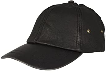 Stonewashed Leather Baseball Cap Black