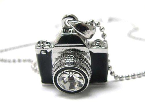 Silvertone Miniature Camera Pendant Crystal Stud