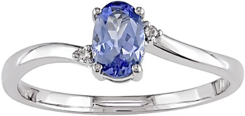 10K White Gold .01 ctw Diamond and Tanzanite Ring