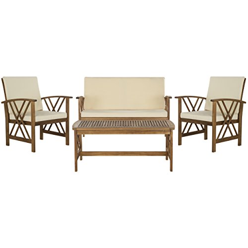 Safavieh 4-Piece Outdoor Collection Fontana Patio Set, Teak Brown and Beige