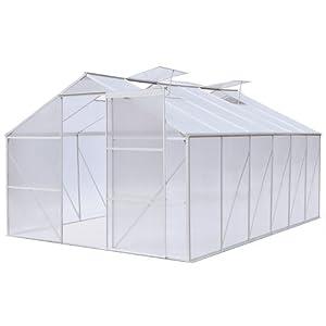 Serre de jardin - en aluminium et polycarbonate - 10 m² - 370 x 270 x 190 cm