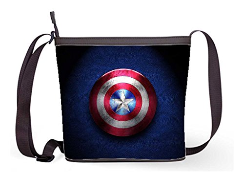 Fashion Casual and Popular Female Sling Bag Crossbody Bag Shoulder Bag with Captain America Print