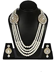 Sitashi Ethenic Gold Plated White Pearl Long American Diamond|CZ Multi Color Antique Necklace Set With Mang Tika... - B01KV3JWU4