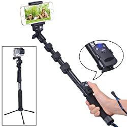Smatree SmaPole Y3 Bluetooth Selfie Stick(17.5″ to 48.5″) for Cell Phones & GoPro Hero/Hero4/3+/3/2/1 HD Cameras & 1/4 Threaded Hole Compact Cameras, With Bluetooth Remote Shutter for Smartphones