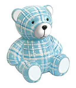 Stephan Baby Perky Plaid Ceramic Pot-Bellied Bear Bank, Blue