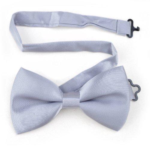 Toptie Mens Formal Solid Silver Satin Bow Tie