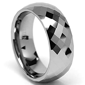 8MM Men's Multi-faceted Tungsten Carbide Ring size 10