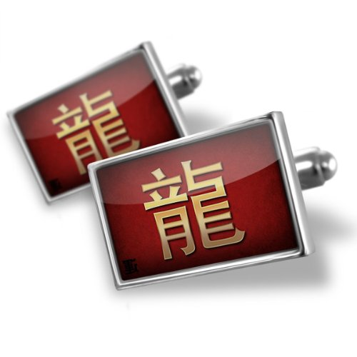 Sterling Silver Cufflinks Dragon Chinese characters, letter red / yellow – Neonblond