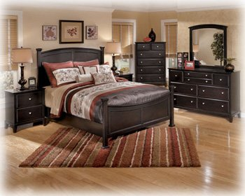 Good Ashley Chelton Contemporary Queen poster Bedroom in Dark Brown Finish by Ashley Furniture