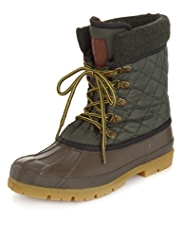 Water Resistant Lace Up Duck Boots