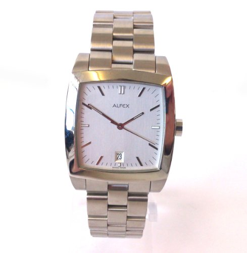 ALFEX of SWITZERLAND 5457 MENS STAINLESS STEEL SILVER TONE WATCH DATE NEW IN BOX