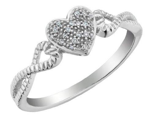 Diamond Heart Ring in 10K White Gold