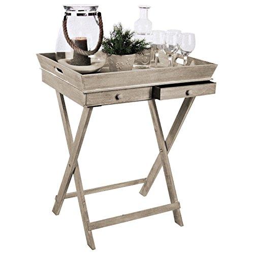 Tablett-Tisch-mit-2-Schubladen-und-Gestell-Serviertisch-Beistelltisch-Serviertablett-abnehmbar-Landhaus-Stil